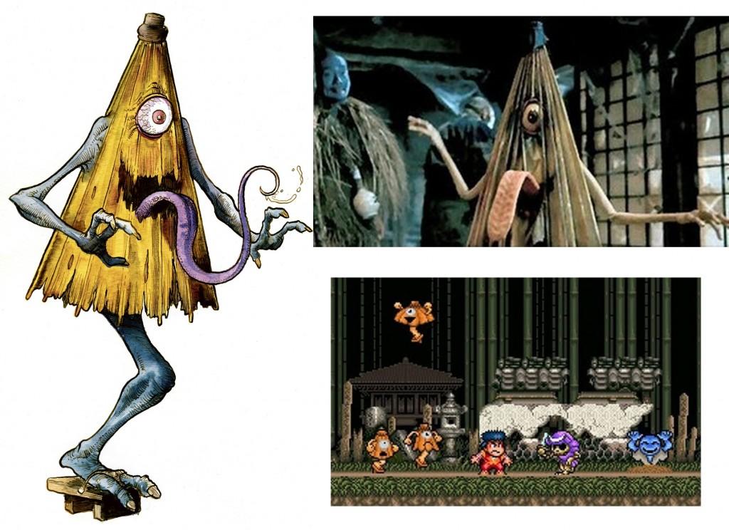 El Karakasaokabe en su imagen tradicional, en un fotograma y en un videojuego.