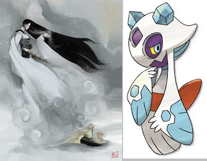 Yuki-onna tradicional y su versión Pokémon