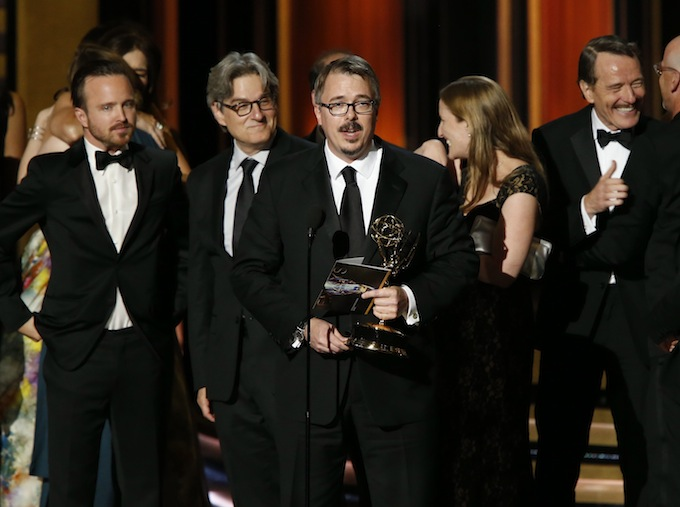 """Producer Vince Gilligan accepts the award for Outstanding Drama Series for """"Breaking Bad"""" during the 66th Primetime Emmy Awards in Los Angeles"""