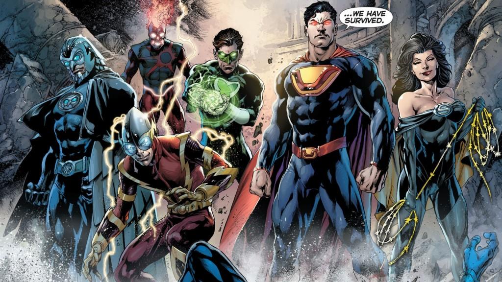 El Sindicato del Crimen: Owlman, Deathstorm, Johnny Quick, Power Ring, Ultraman y Superwoman. Falta Atomika y Red.