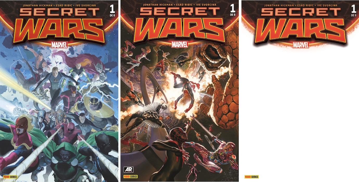 Las tres portadas de Secret Wars 1...