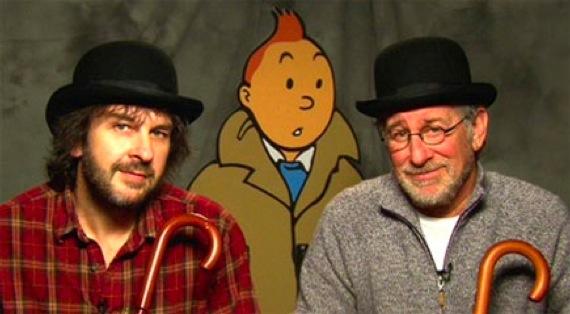 Peter Jackson y Steven Spielberg con Tintín de fondo