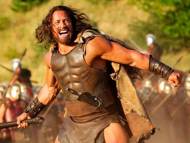Dwayne Johnson caracterizado como Hércules