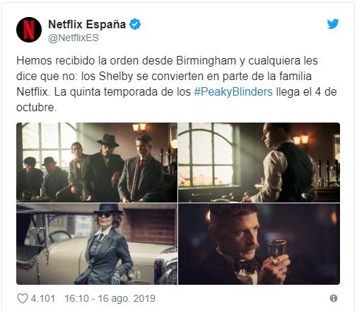 La temporada 5 de Peaky Blinders se estranará en Netflix